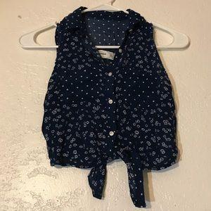 Sz S Girls Abercrombie Kids Sleeveless Collar Top